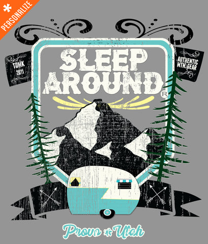 Sleep Around® brand Mountain Camping T-shirt design closeup