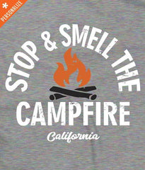 Stop and smell the campfire t-shirt design closeup