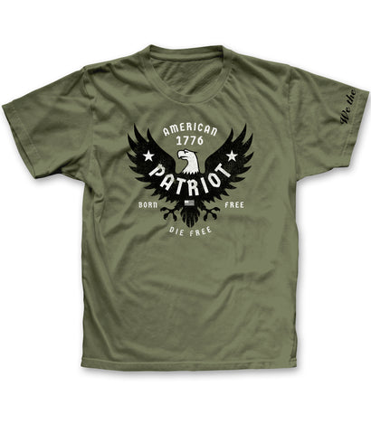American Patriot tee shirt with Born Free Die Free