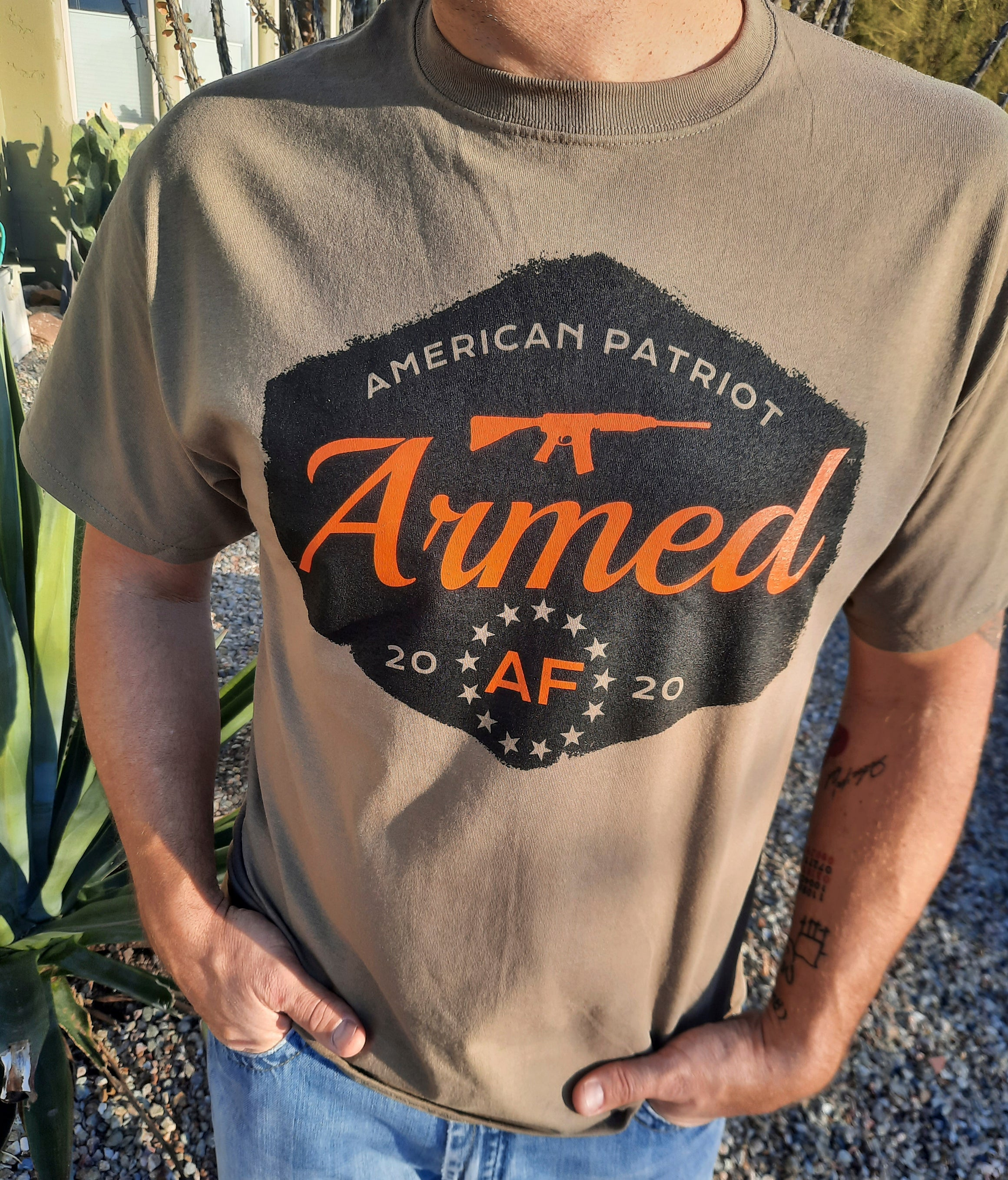American patriot t-shirt on model armed af
