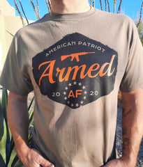 American Patriot tee shirt on model