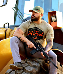 Armed AF logo shirt on model