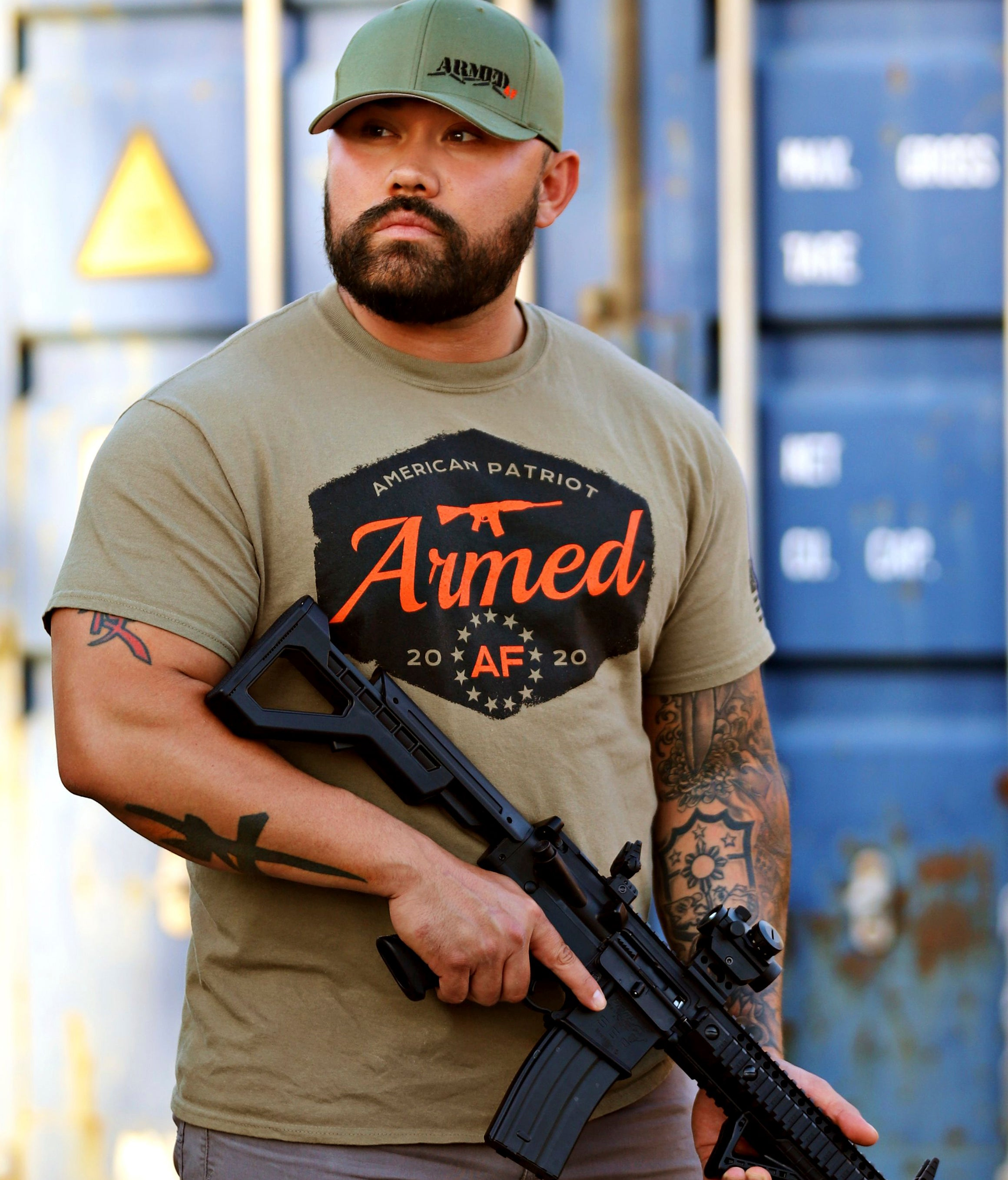 Armed AF logo shirt on model with ar15