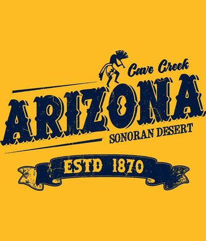 Cave Creek Arizona t-shirt design closeup