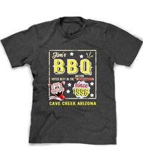 BBQ tee in charcoal heather - customized