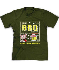 BBQ tee shirt in dark olive - personalized
