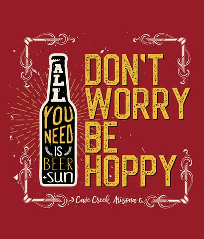 Arizona beer shirt design closeup - don't worry be hoppy