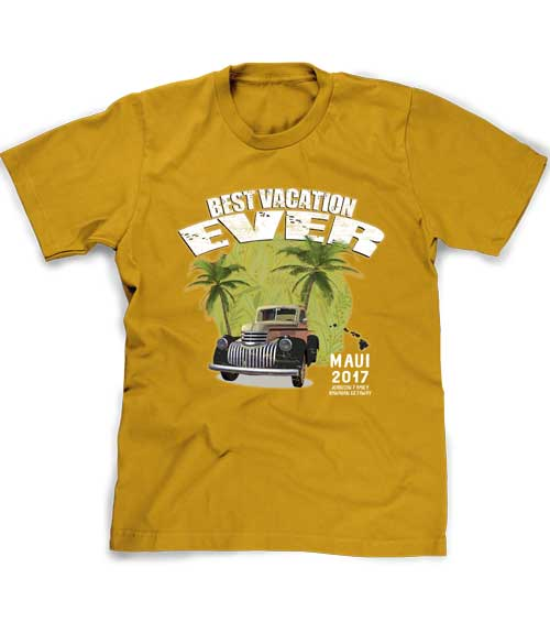 Hawaii vacation t-shirt in gold