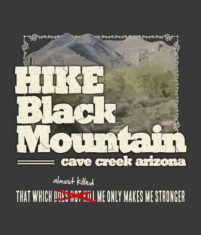 Hike Black Mountain t-shirt design closeup