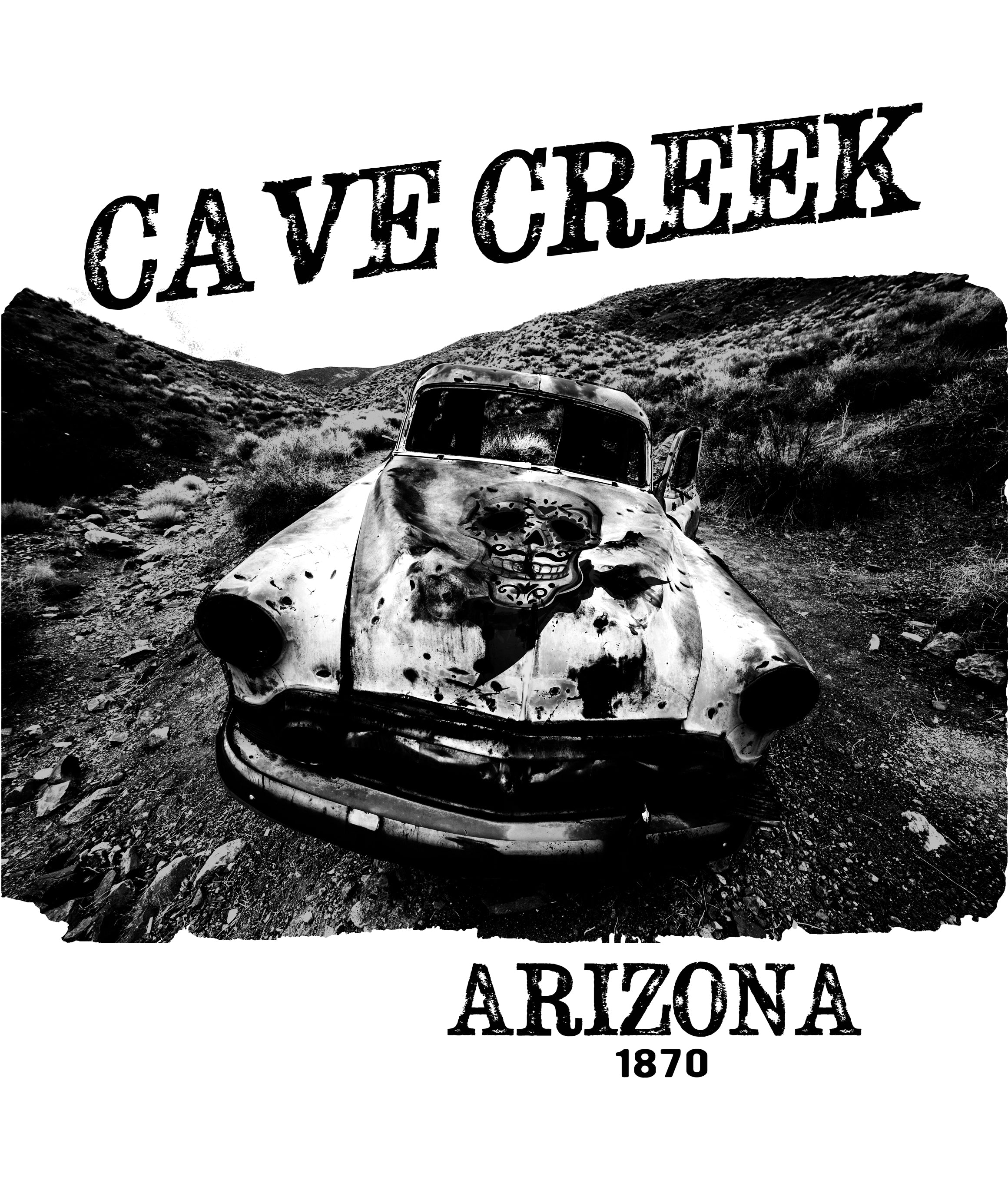 Cave Creek Arizona ladies tank top design closeup