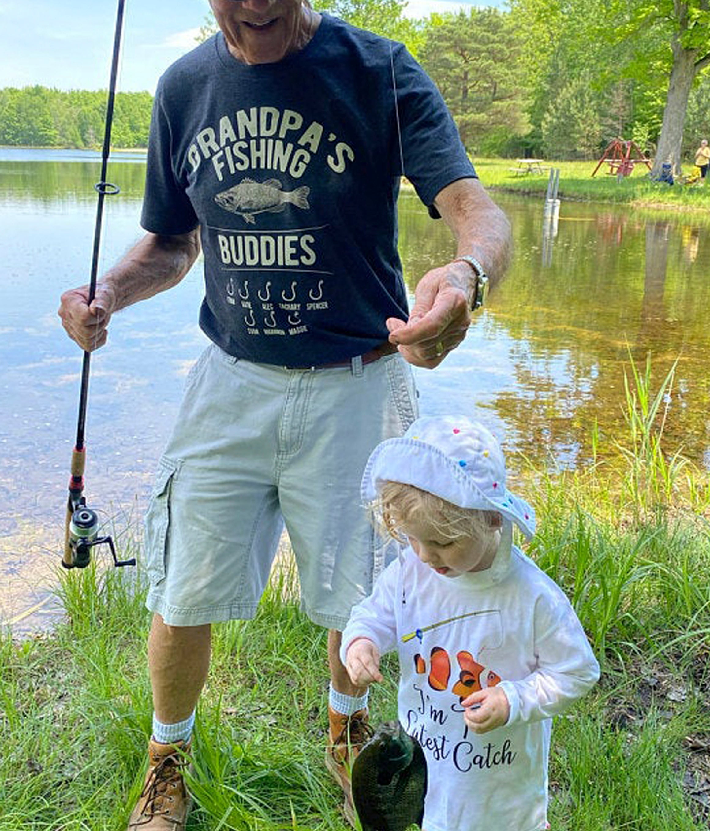 photo of grandpa wearing Grandpa's Fishing Buddies t-shirt
