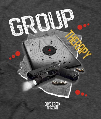 Group therapy gun t-shirt closeup