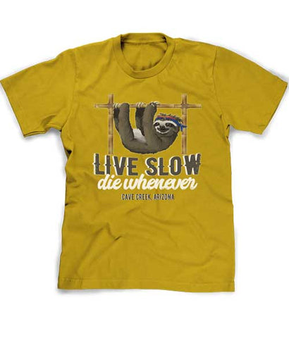 Funny sloth t-shirt Live Slow Die Whenever