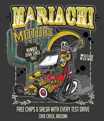 Mariachi Motors Arizona souvenir shirt closeup