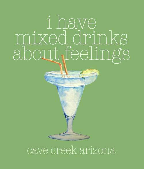 Mixed drinks about feelings t-shirt design closeup
