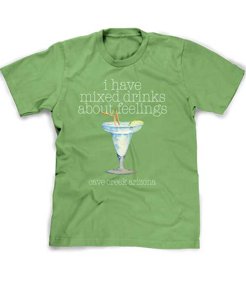 Mixed drinks about feelings t-shirt in leaf green