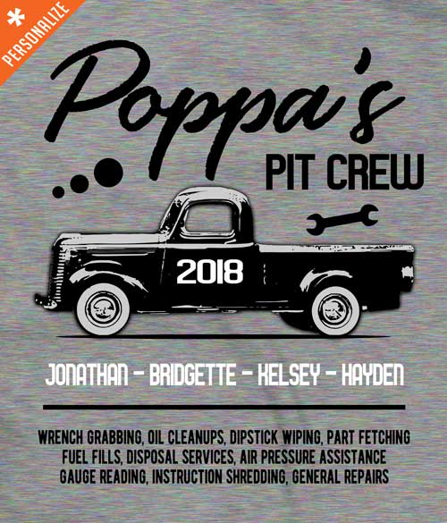 Grandpas Pit Crew tee shirt design closeup