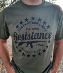 Resist tyranny tee shirt on model