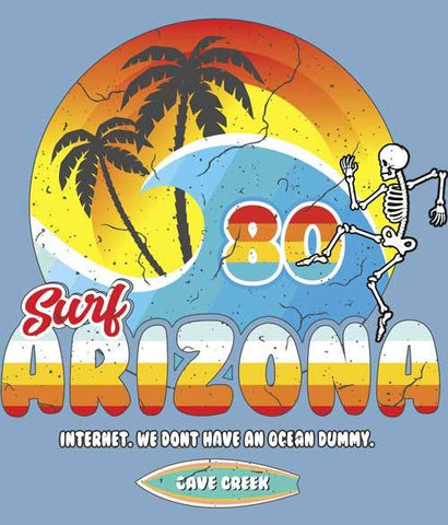 Funny Arizona surfing t-shirt design closeup