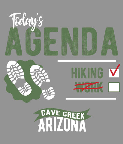 Cave Creek Arizona Hiking Shirt design closeup