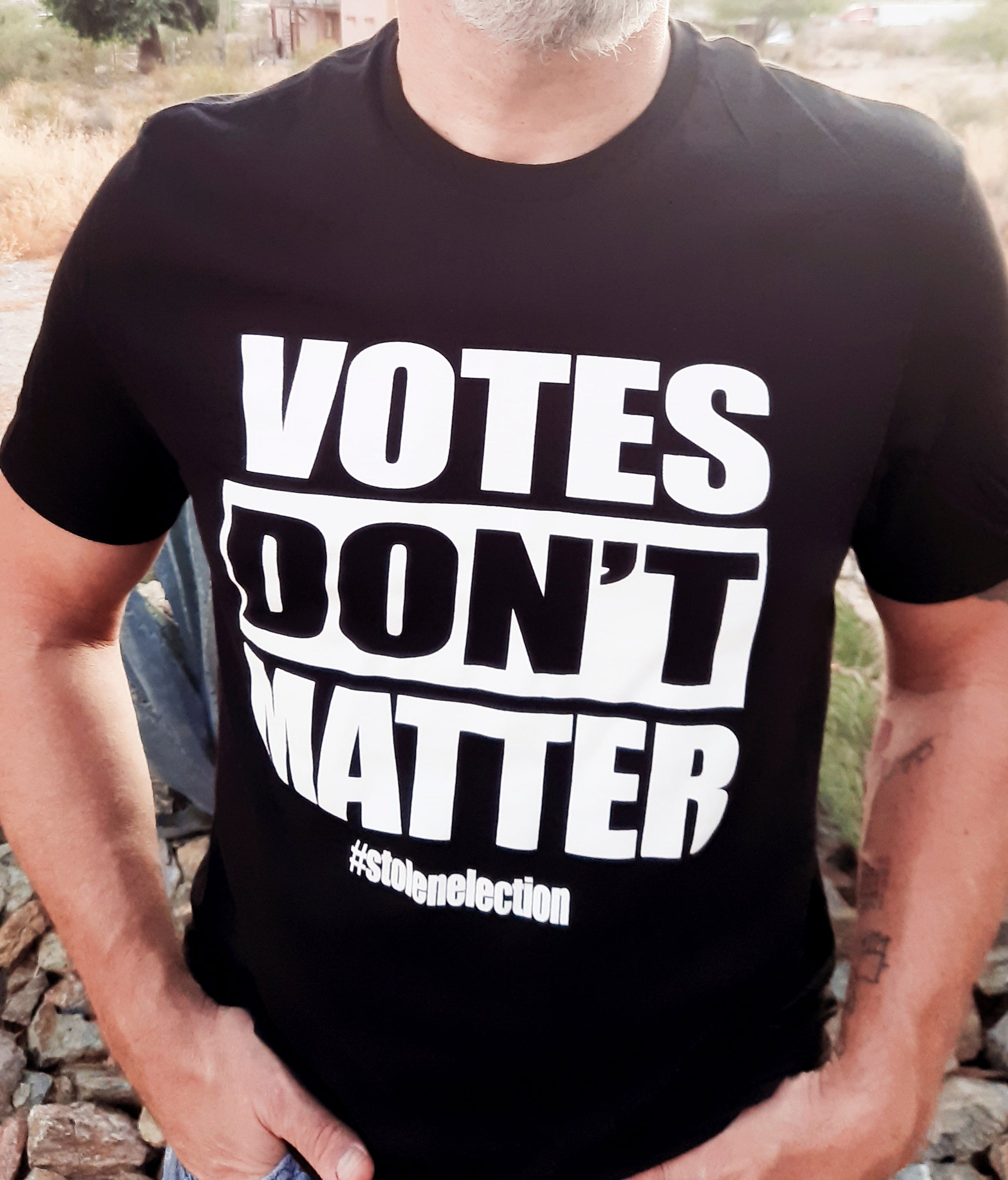 Votes dont matter t-shirt on model
