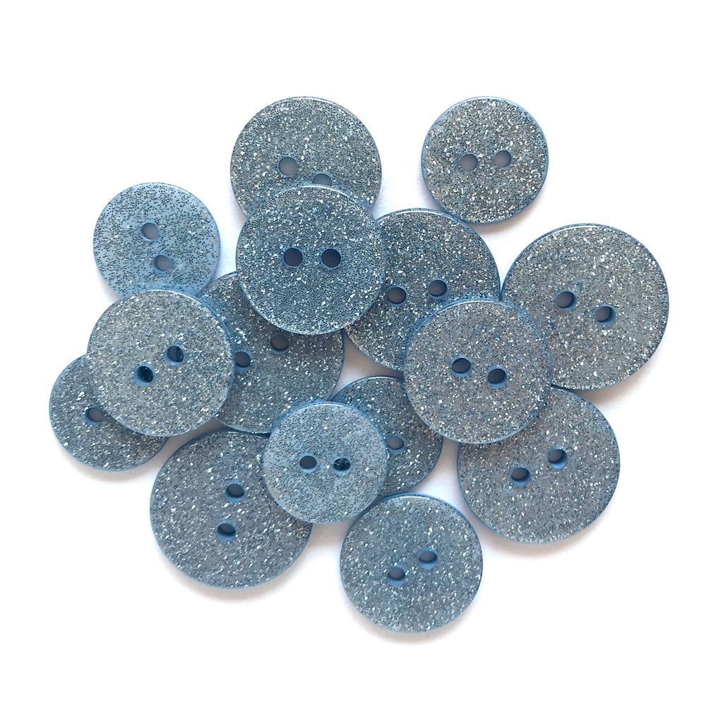 Blue Lagoon Glitter Buttons - SUS109