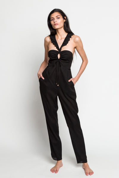 6 Shore Road |Barnyard Linen Jumpsuit| Black | Resort 2018 Collection | XS,S,M,L