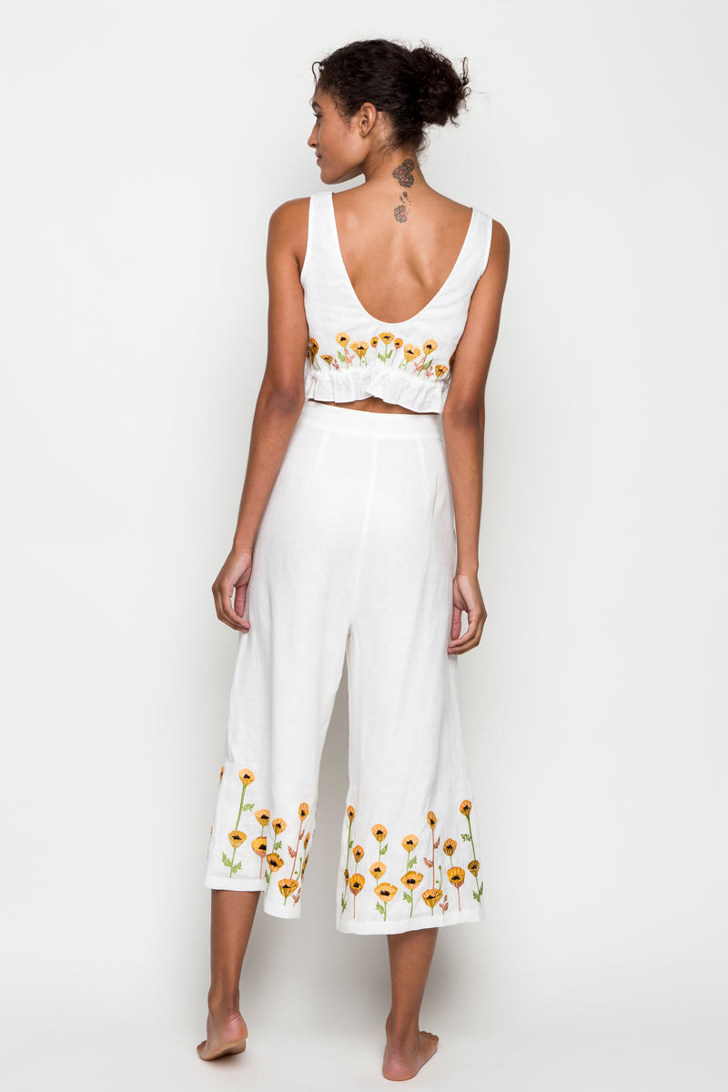 6 shore road | Seaside Embroidered Daisy Set | Spring 2018 Collection | White Jumpsuit | XS,S,M,L