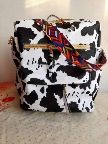 Cow Print Backpack ~ Guitar Strap Backpack Purse