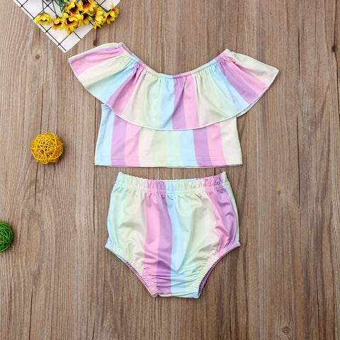 Baby Girls Rainbow Ruffle Outfit