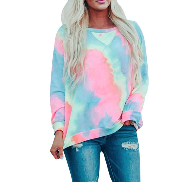 Long Sleeve Tie Dyed Top