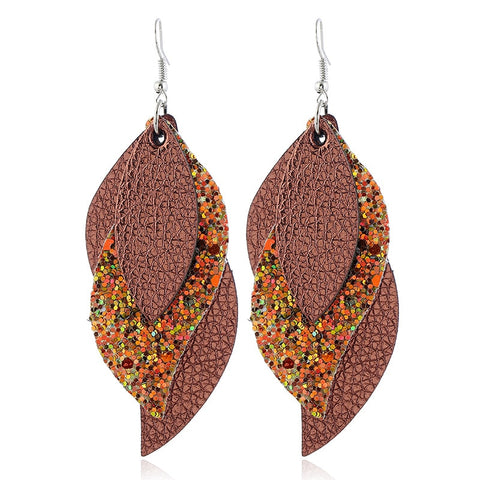 Glitter Faux Leather Earrings