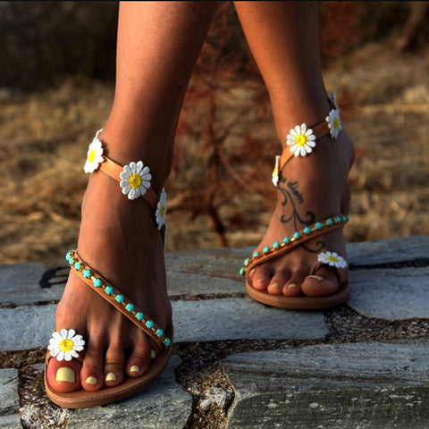 Daisy Print Gladiator Sandals
