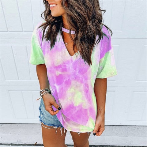 Hollow Out Tie Dye Tops