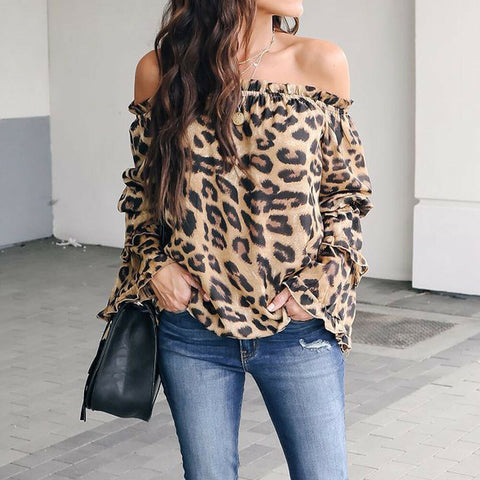 Women Leopard Print Long Sleeve Blouse