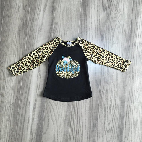 Little Girls Leopard Pumpkin Top
