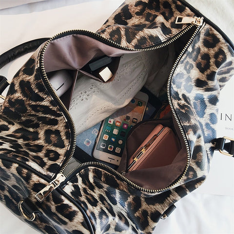 Leopard Leather Travel Bags