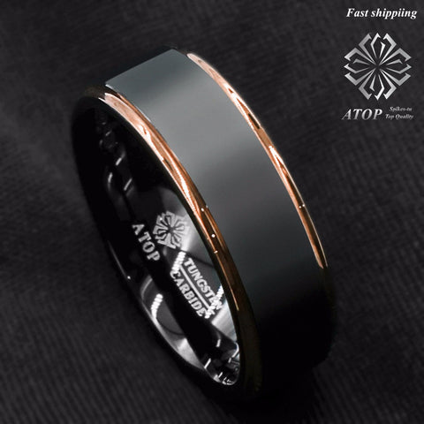 Mens Black & Rose Gold Tungsten Band