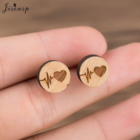 Wood Heartbeat Earrings