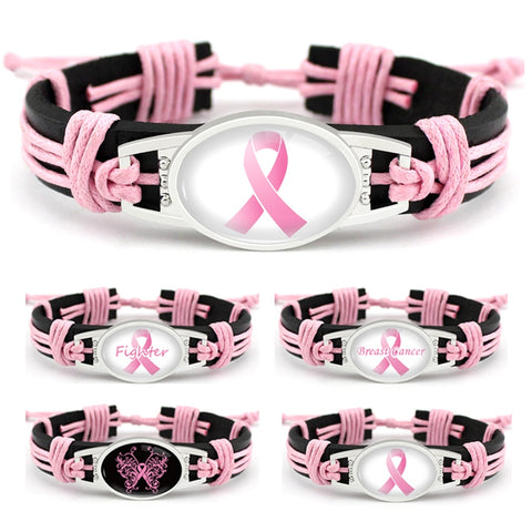 Fighter Breast Cancer Awareness Leather Bracelets