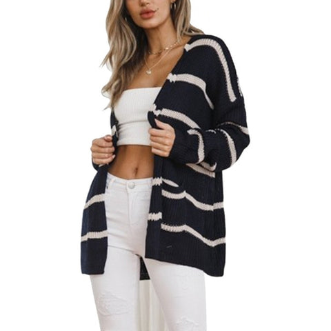 Striped Knit Long Sweaters