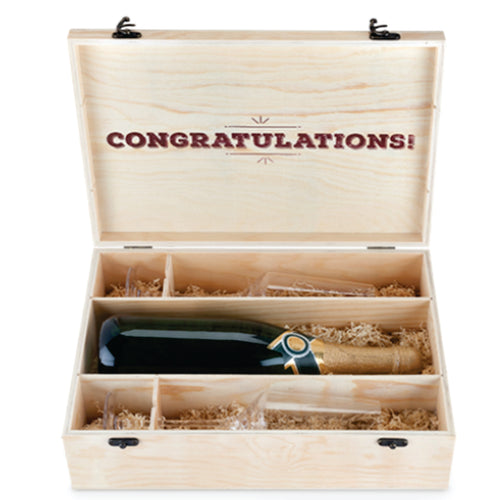 One Bottle And Glasses Congratulations Wine Box