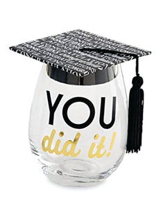 You Did It Stemless Graduation Wine Glass