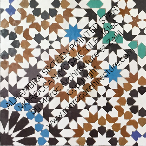 ALHAMBRA SIXTEEN POINTED STAR MOROCCAN MOSAIC TILE- 16168 by Maroc Architecture et Zellij