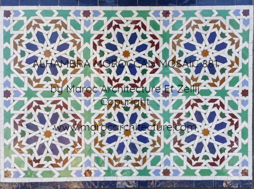 ALHAMBRA MOROCCAN MOSAIC 881 by Maroc Architecture et Zellij