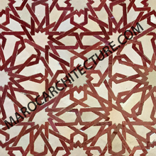 ALHAMBRA MOSAIC 1605 – 12 pointed star with laces - Moroccan mosaic tile,
