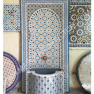 Alhambra mosaic tiles fountain by Maroc architecture et zellij