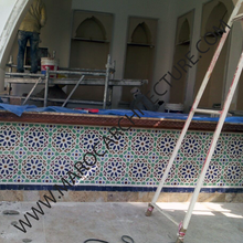 Moroccan mosaic tile installation