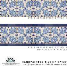 handpainted moroccan tiles for stair riser by Maroc Architecture et Zellij