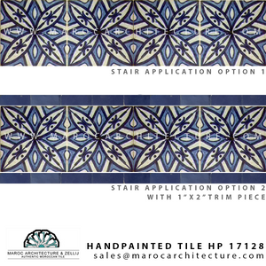 handpainted moroccan tile for stairs by Maroc Architecture et Zellij